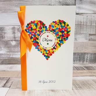 Menu Weselne z Motywem Serca w Kolorowe Kropki i Pomarańczową Tasiemką WM16
