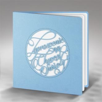 Zaproszenie na Chrzest Święty z Niebieskiego Papieru i Motywem Wyciętym Laserowo ECH13