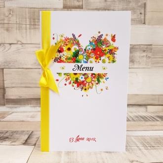 Menu Weselne z Motywem Wiosennego Serca i Żółtą Tasiemką WM17