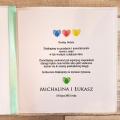 Zaproszenie Ślubne z Motywem Odcisków Palców i Tasiemką w Kolorze Miętowym WZ18