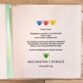 Księga Gości z Motywem Odcisków Palców w Kształcie Serca i Tasiemką w Kolorze Miętowym WK18