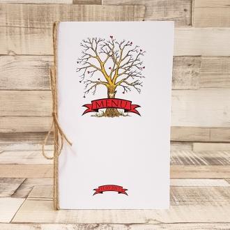 Menu Weselne z Motywem Drzewa Miłości i Sznurkiem Jutowym WM23