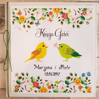 Księga Gości z Motywem Ptaków i Zielonym Sznurkiem WK27