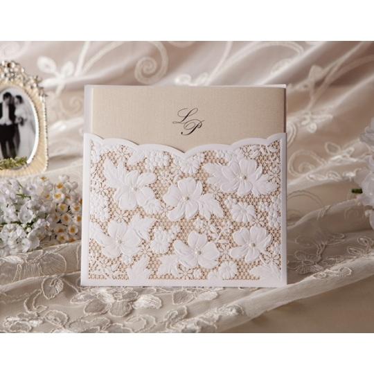 Zaproszenia ślubne Z Ażurowymi Kwiatami T1101