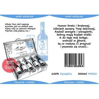 Zestaw Etykiet na Wino Weselne - Przód i Tył 16 sztuk EZ