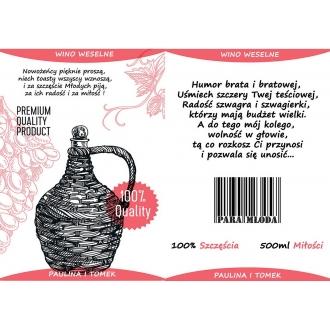 Etykiety na Wino Weselne Czerwone - 16 sztuk EW3
