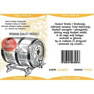 Etykiety na Wino Weselne Pomarańczowe - 16 sztuk EW6