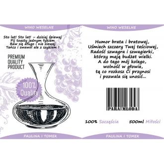 Etykiety na Wino Weselne Fioletowe - 16 sztuk EW8