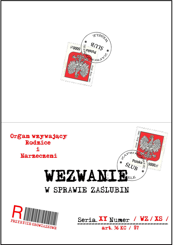 Zaproszenie ślubne W Formie Wezwania Wz30