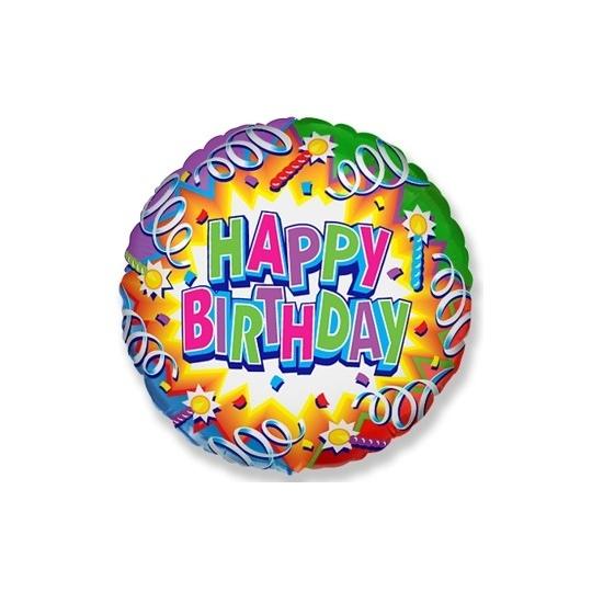 """Balon foliowy 18"""" FX - """"Happy Birthday (serpentyny)"""" (okrągły)"""
