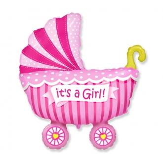 """Balon foliowy 24"""" FX - """"Wózek dla dziewczynki"""" (różowy)"""