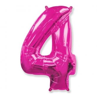 """Balon foliowy FX - """"Number 4"""" różowy 85 cm"""