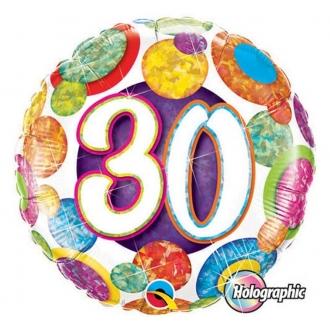 """Balon foliowy 18"""" QL CIR """"30 (holo grochy)"""""""