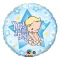 """Balon foliowy 18"""" QL CIR """"Yep! I am a Boy"""" ST ASORT"""