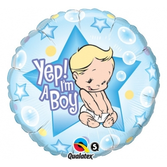 "Balon foliowy 18"" QL CIR ""Yep! I am a Boy"" ST ASORT"