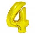 """Balon foliowy """"Cyfra 4"""", złota, 85 cm"""