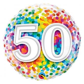 """Balon foliowy 18"""" QL CIR """"50 Confetti"""""""