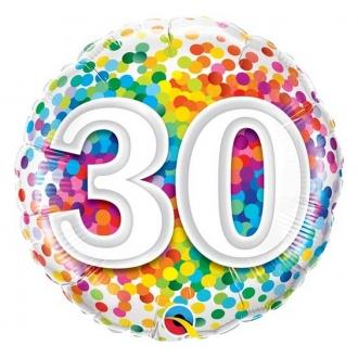 """Balon foliowy 18"""" QL CIR """"30 Confetti"""""""