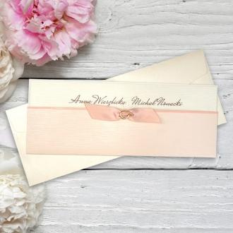 Zaproszenia Ślubne w Odcieniu Ecru i Róż F2711