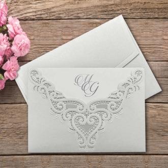 Zaproszenie Ślubne w Kolorze Perłowym z Koronkowym Ornamentem F3699