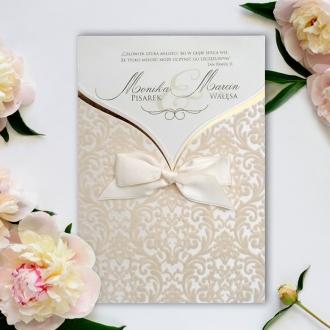 Zaproszenia Ślubne w Postaci Kieszonki z Klasycznym Ornamentem F5471