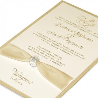 Zaproszenia Ślubne z Atłasową Wstążką i Koralikiem F1284p