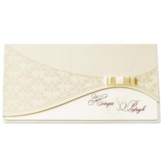 Zaproszenia Ślubne z Ornamentem Wykonanym Perłową Folią F1196