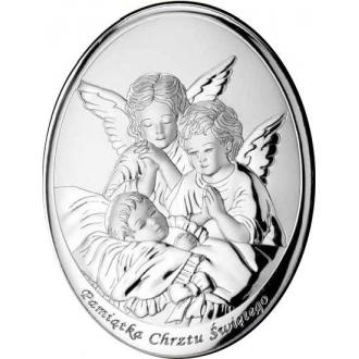 Obrazek z Dwoma Aniołkami nad Dzieckiem Owal WM000604