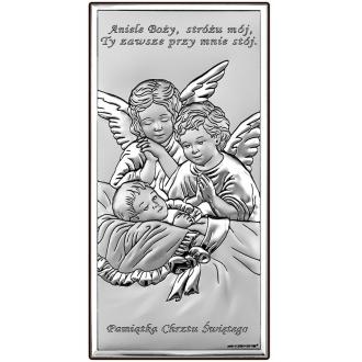 Obrazek z Dwoma Aniołkami nad Dzieckiem WBC6468S
