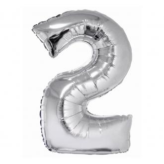 """Balon foliowy """"Cyfra 2"""", srebrna, 85 cm"""
