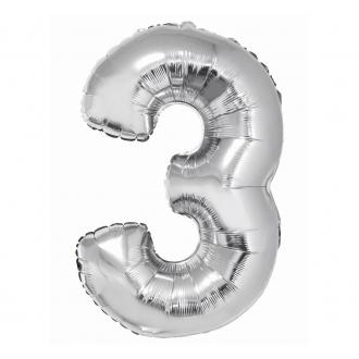 """Balon foliowy """"Cyfra 3"""", srebrna, 85 cm"""