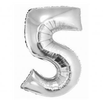 """Balon foliowy """"Cyfra 5"""", srebrna, 85 cm"""