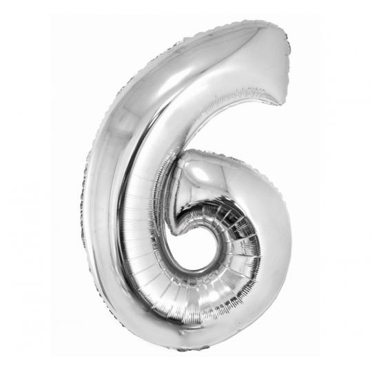 """Balon foliowy """"Cyfra 6"""", srebrna, 85 cm"""