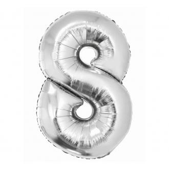 """Balon foliowy """"Cyfra 8"""", srebrna, 85 cm"""