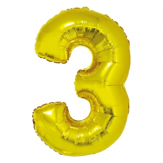 """Balon foliowy """"Cyfra 3"""", złota, 85 cm"""
