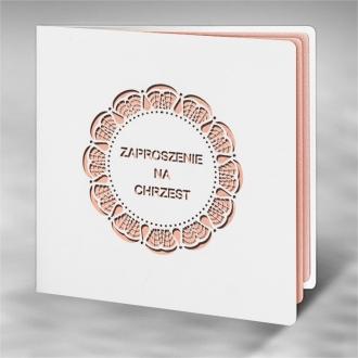 Zaproszenie na Chrzest z Różowym Wycięciem Laserowym ECH17