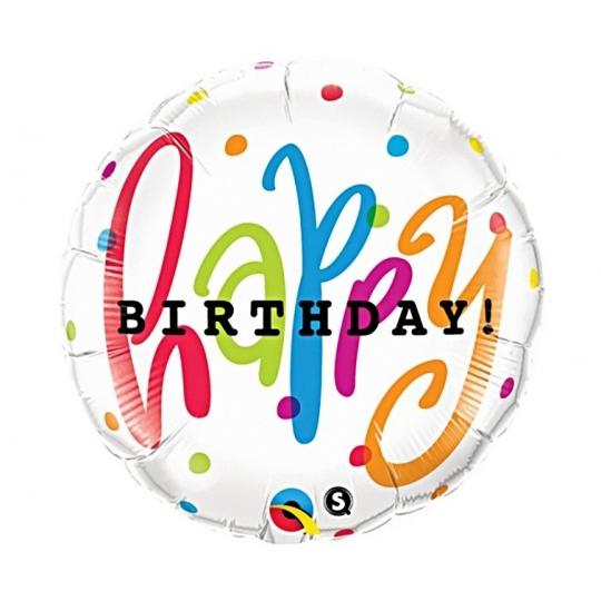 """Balon foliowy 18"""" QL CIR """"Happy Birthday Groszki"""""""