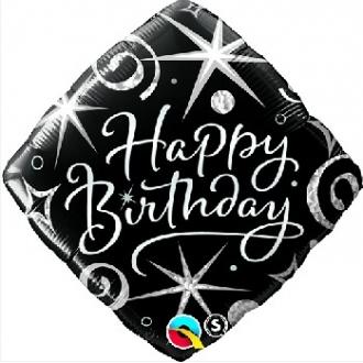 """Balon foliowy 18"""" QL SQR """"Happy Birthday, czarno-biały"""""""