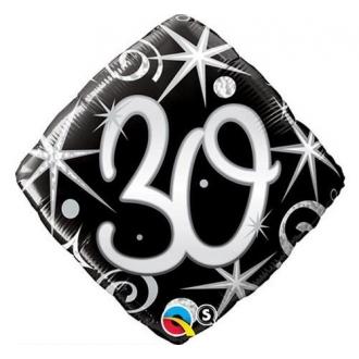 """Balon foliowy 18"""" QL SHP """"30, czarny serpentyny i gwiazdki"""""""