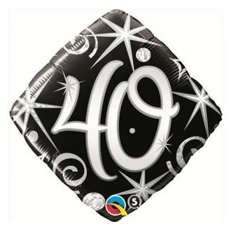"""Balon foliowy 18"""" QL SHP """"40, czarny serpentyny i gwiazdki"""""""