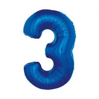 """Balon foliowy """"Cyfra 3"""", niebieska, 85 cm"""