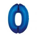 """Balon foliowy """"Cyfra 0"""", niebieska, 85 cm"""