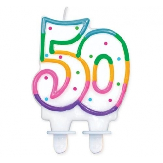 """Świeczka cyferka z kropeczkami """"50"""", 8 cm"""