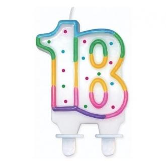 """Świeczka cyferka z kropeczkami """"18"""", 8 cm"""