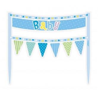 """Dekoracja na tort """"Baby"""", niebieskie groszki"""