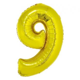 """Balon foliowy """"Cyfra 9"""", złota, 85 cm"""