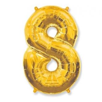 """Balon foliowy FX - """"Number 8"""" złoty, 85 cm"""