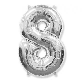 "Balon foliowy FX - ""Number 8"" srebrny 85 cm"