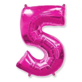 """Balon foliowy FX - """"Number 5"""" różowy 85 cm"""