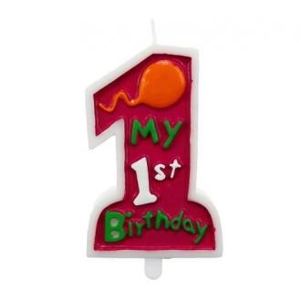 """Świeczka """"My 1st Birthday"""", różowa"""